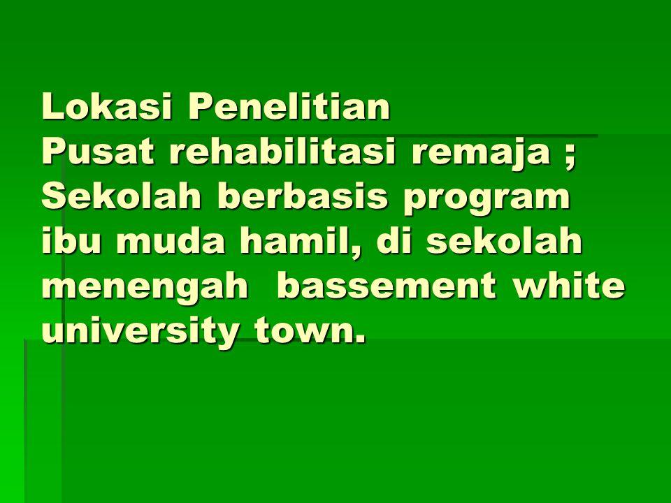 Lokasi Penelitian Pusat rehabilitasi remaja ; Sekolah berbasis program ibu muda hamil, di sekolah menengah bassement white university town.