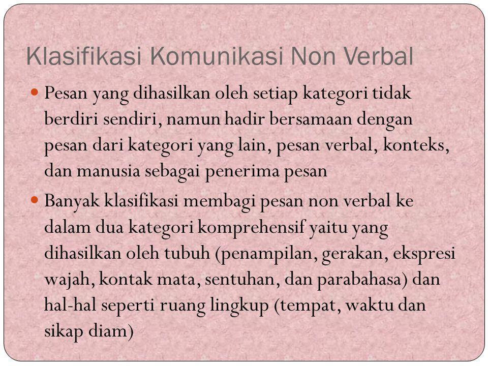 Klasifikasi Komunikasi Non Verbal Pesan yang dihasilkan oleh setiap kategori tidak berdiri sendiri, namun hadir bersamaan dengan pesan dari kategori y