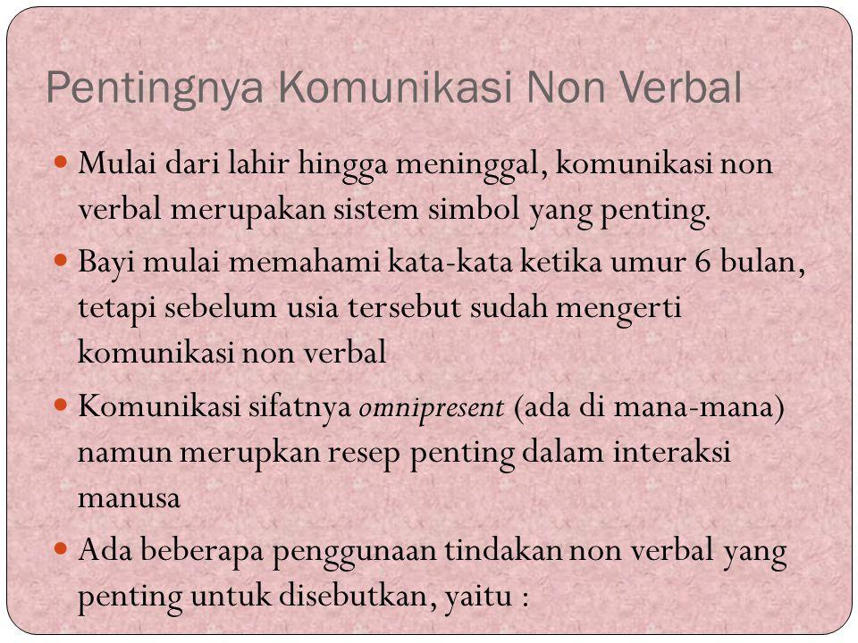 Pentingnya Komunikasi Non Verbal Mulai dari lahir hingga meninggal, komunikasi non verbal merupakan sistem simbol yang penting. Bayi mulai memahami ka
