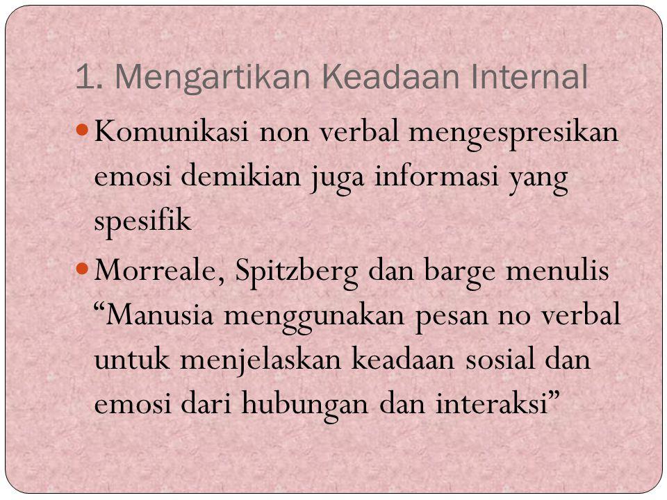 1. Mengartikan Keadaan Internal Komunikasi non verbal mengespresikan emosi demikian juga informasi yang spesifik Morreale, Spitzberg dan barge menulis