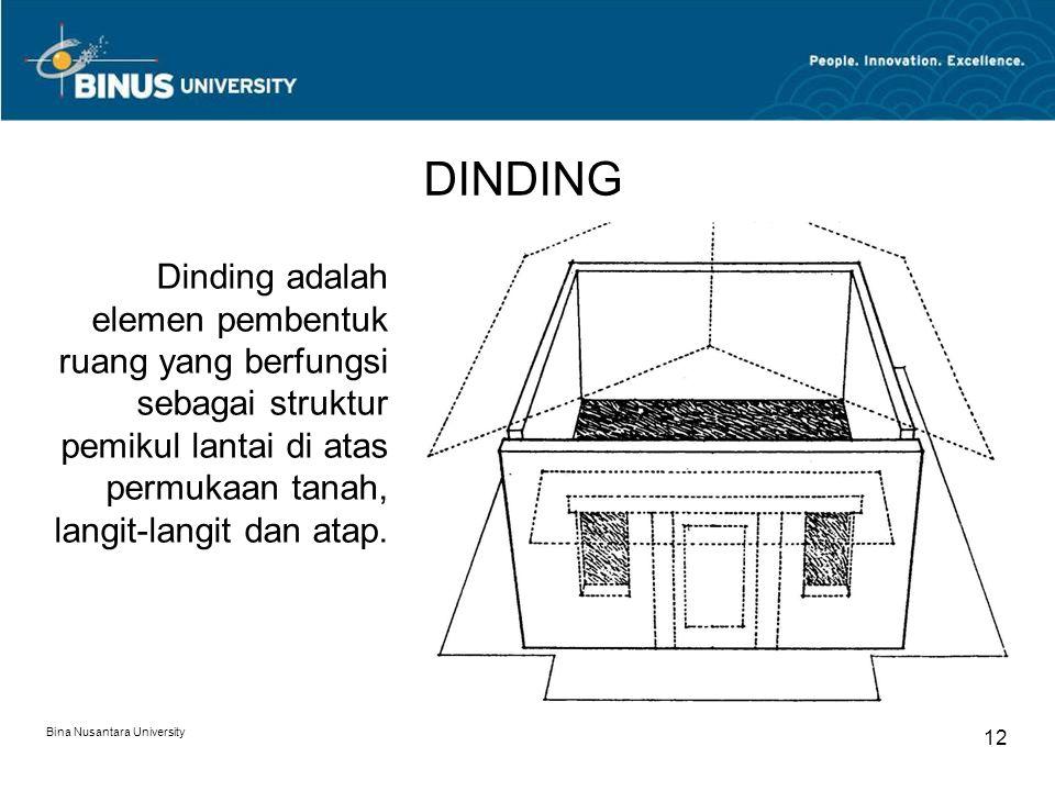 Bina Nusantara University 12 DINDING Dinding adalah elemen pembentuk ruang yang berfungsi sebagai struktur pemikul lantai di atas permukaan tanah, lan