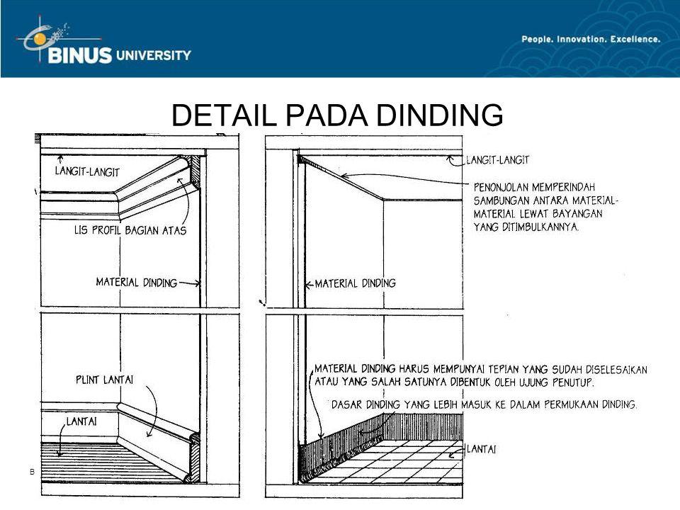 Bina Nusantara University 15 DETAIL PADA DINDING