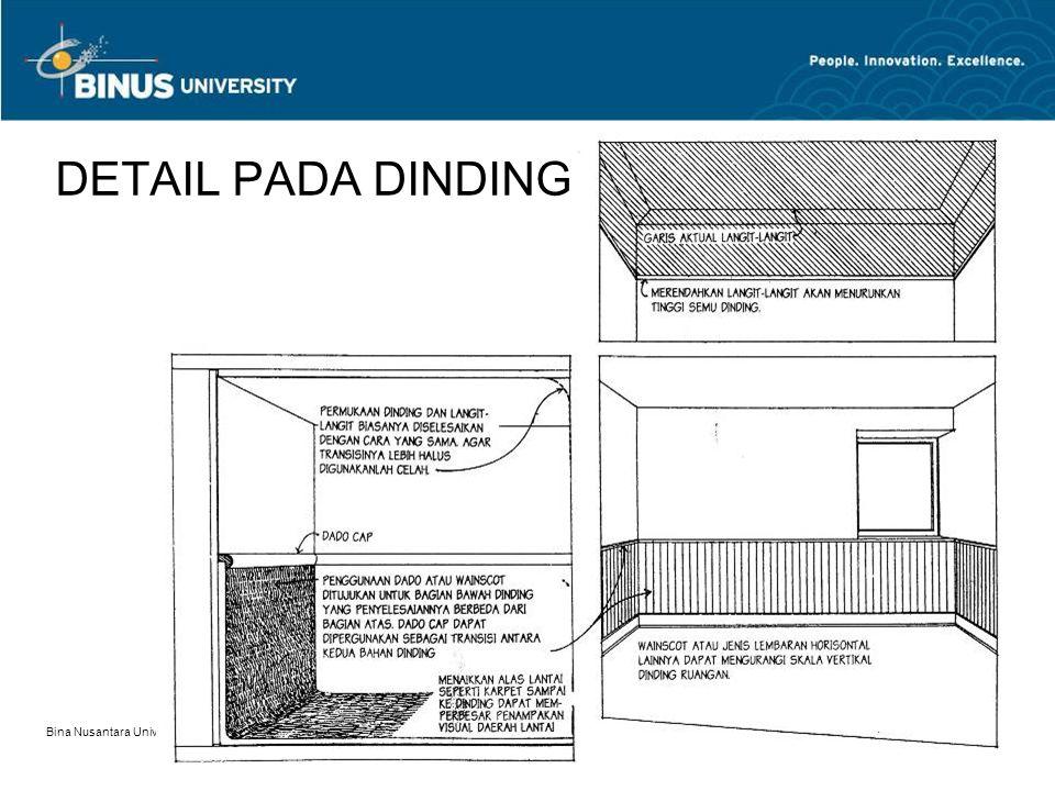 Bina Nusantara University 16 DETAIL PADA DINDING