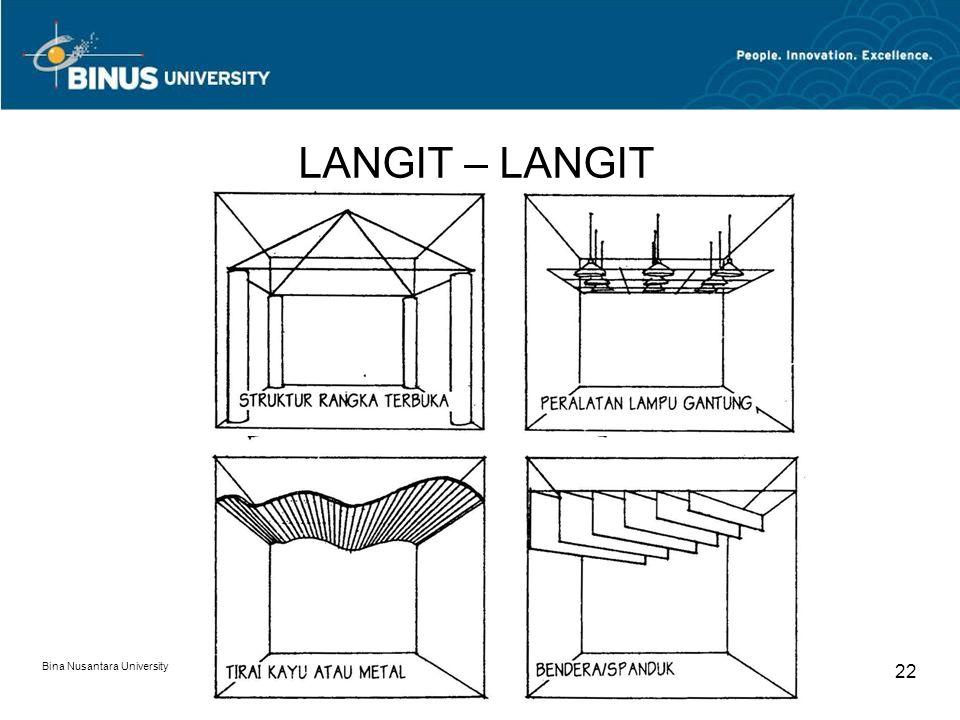 Bina Nusantara University 22 LANGIT – LANGIT