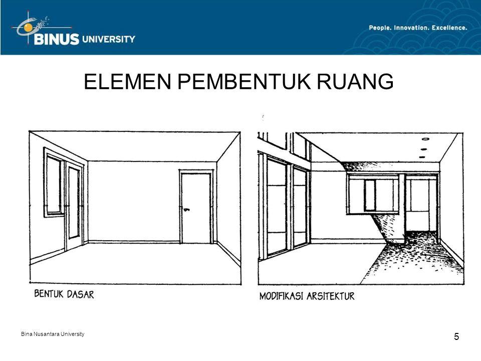 Bina Nusantara University 6 ELEMEN PEMBENTUK RUANG