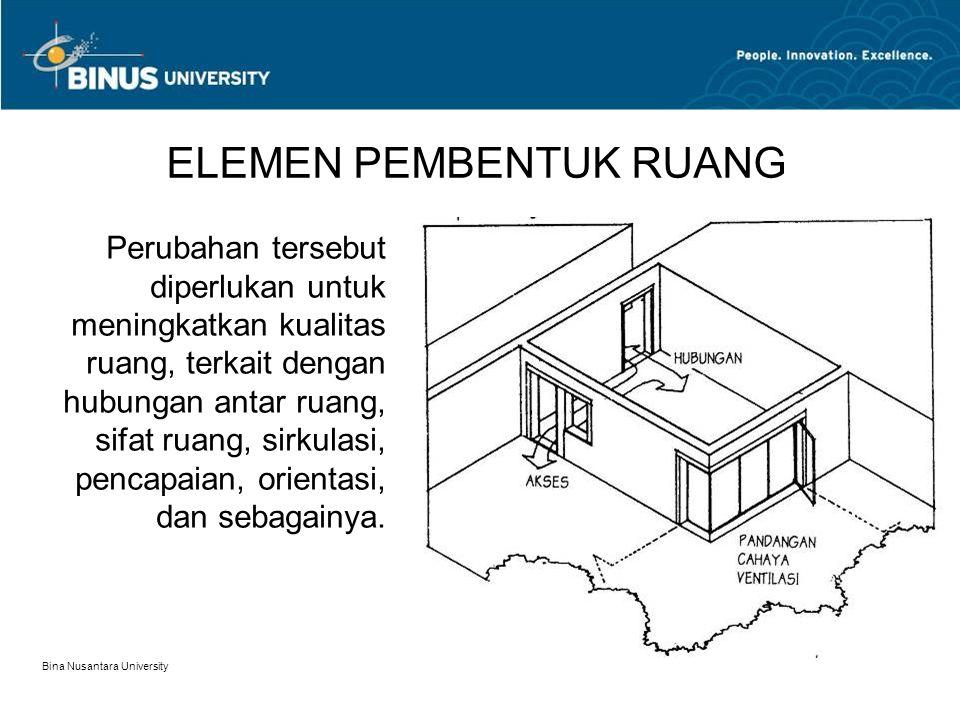 Bina Nusantara University 8 ELEMEN PEMBENTUK RUANG Perubahan tersebut diperlukan untuk meningkatkan kualitas ruang, terkait dengan hubungan antar ruan