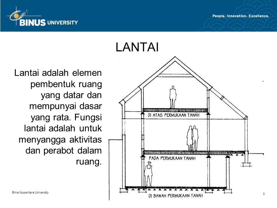Bina Nusantara University 9 LANTAI Lantai adalah elemen pembentuk ruang yang datar dan mempunyai dasar yang rata. Fungsi lantai adalah untuk menyangga