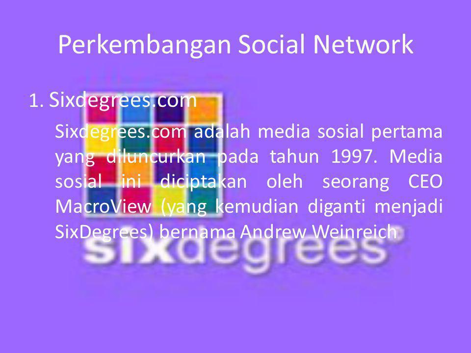 Perkembangan Social Network 1.