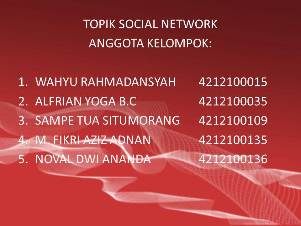 TOPIK SOCIAL NETWORK ANGGOTA KELOMPOK: 1.WAHYU RAHMADANSYAH4212100015 2.ALFRIAN YOGA B.C4212100035 3.SAMPE TUA SITUMORANG4212100109 4.M. FIKRI AZIZ AD