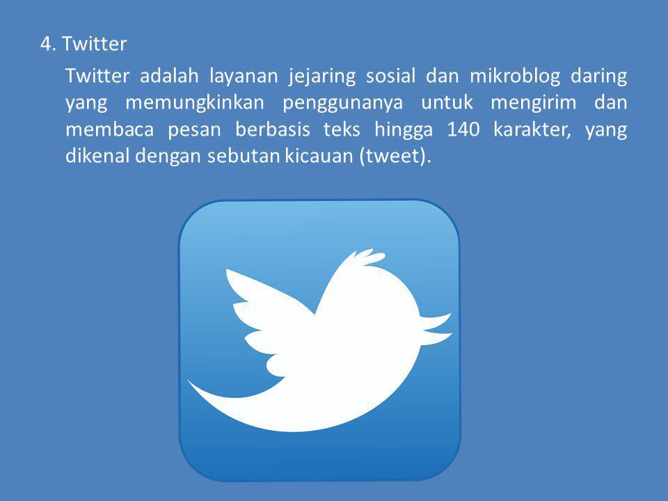 4. Twitter Twitter adalah layanan jejaring sosial dan mikroblog daring yang memungkinkan penggunanya untuk mengirim dan membaca pesan berbasis teks hi
