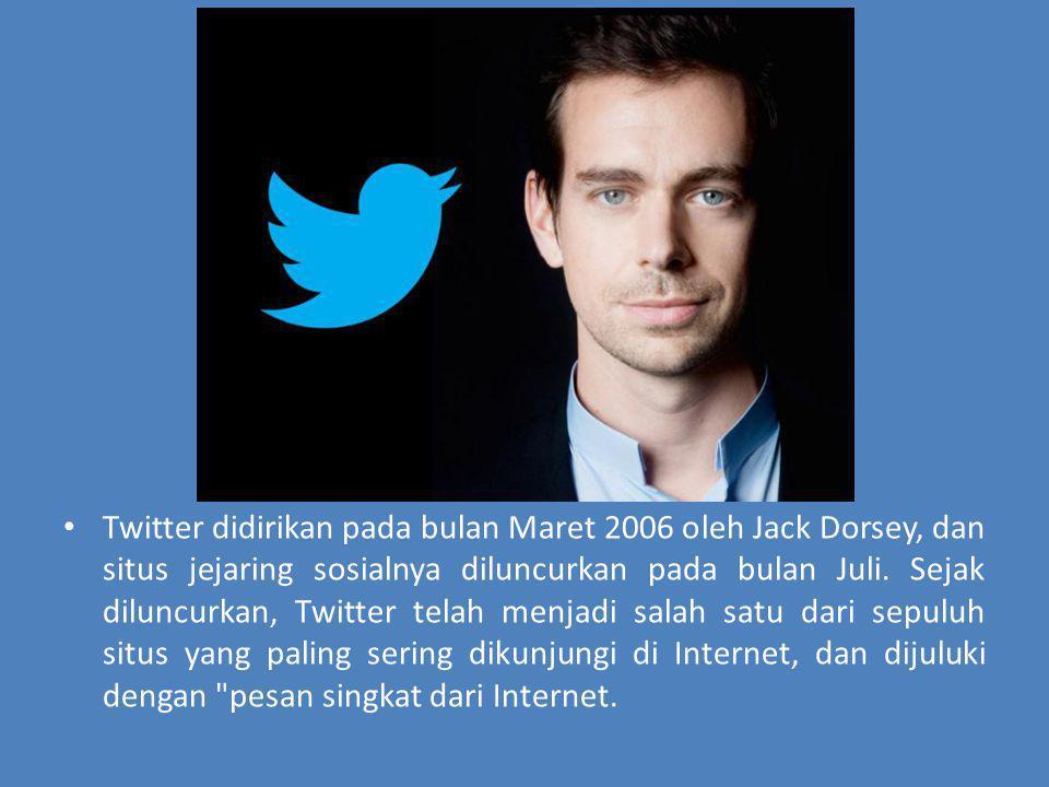 Twitter didirikan pada bulan Maret 2006 oleh Jack Dorsey, dan situs jejaring sosialnya diluncurkan pada bulan Juli. Sejak diluncurkan, Twitter telah m