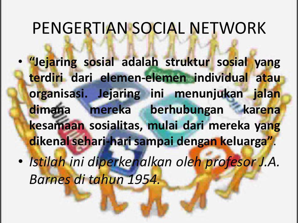 """PENGERTIAN SOCIAL NETWORK """"Jejaring sosial adalah struktur sosial yang terdiri dari elemen-elemen individual atau organisasi. Jejaring ini menunjukan"""