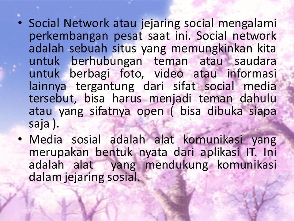 Social Network atau jejaring social mengalami perkembangan pesat saat ini. Social network adalah sebuah situs yang memungkinkan kita untuk berhubungan