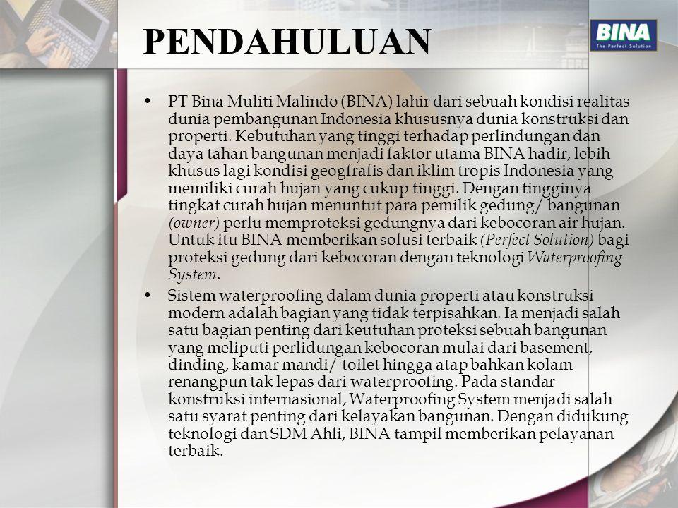 PENDAHULUAN PT Bina Muliti Malindo (BINA) lahir dari sebuah kondisi realitas dunia pembangunan Indonesia khususnya dunia konstruksi dan properti. Kebu