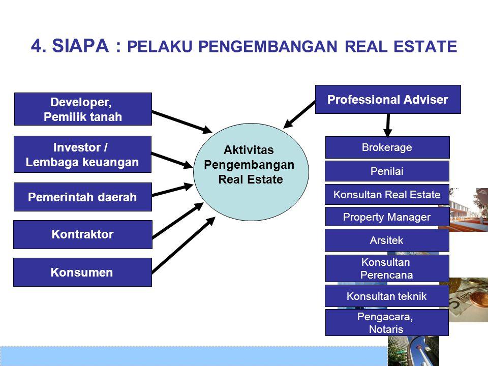 4. SIAPA : PELAKU PENGEMBANGAN REAL ESTATE Brokerage Investor / Lembaga keuangan Developer, Pemilik tanah Pengacara, Notaris Penilai Arsitek Konsultan
