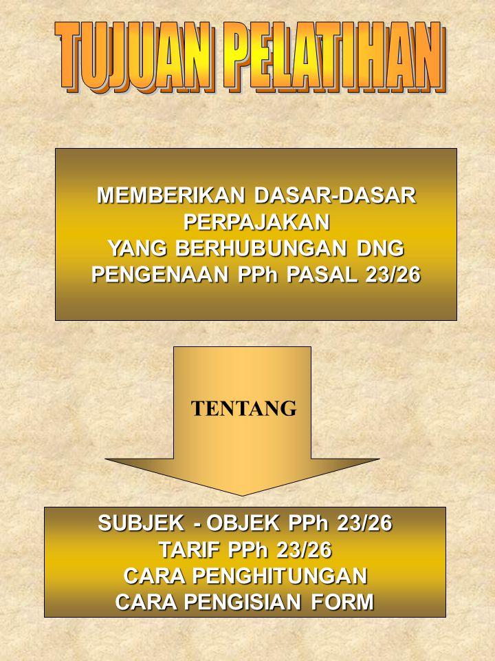 ASPEK PPh PASAL 23/26 DALAM KEGIATAN SEHARI-HARI SUBJEK SIAPA SAJA YG DIWAJIBKAN MEMUNGUT PAJAK APA SAJA YANG DIKENAKAN PAJAK BAGAIMANA SAYA MENGHITUNG PJK DAN TARIFNYA .