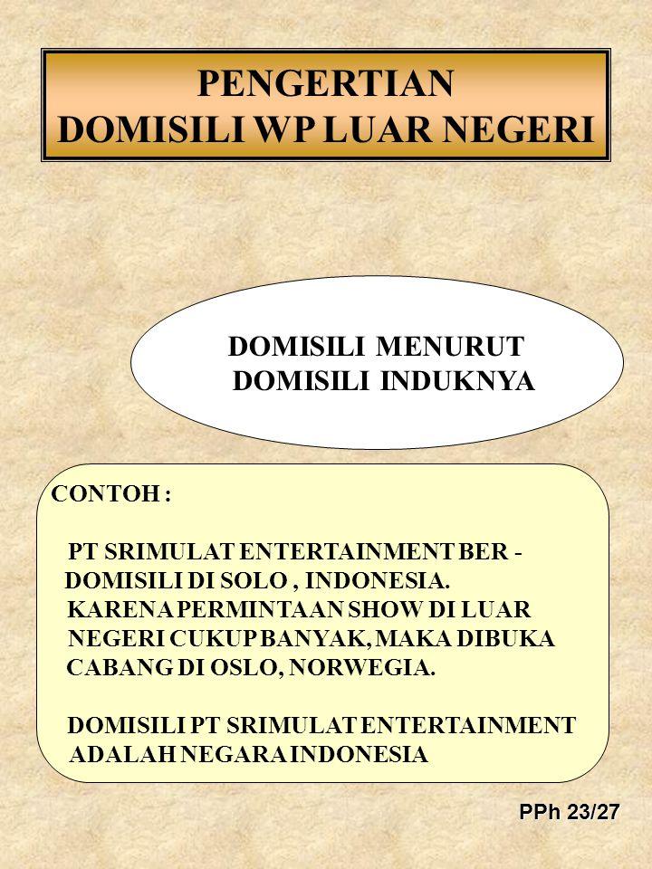 PENGERTIAN DOMISILI WP LUAR NEGERI CONTOH : PT SRIMULAT ENTERTAINMENT BER - DOMISILI DI SOLO, INDONESIA. KARENA PERMINTAAN SHOW DI LUAR NEGERI CUKUP B
