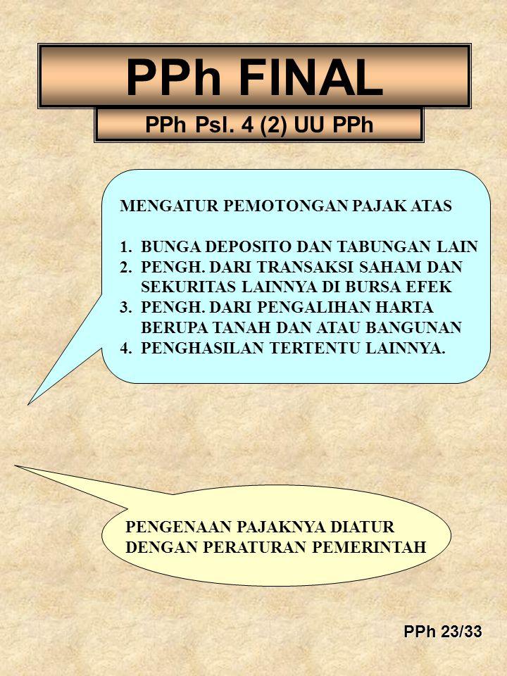 PPh FINAL PPh Psl. 4 (2) UU PPh MENGATUR PEMOTONGAN PAJAK ATAS 1. BUNGA DEPOSITO DAN TABUNGAN LAIN 2. PENGH. DARI TRANSAKSI SAHAM DAN SEKURITAS LAINNY