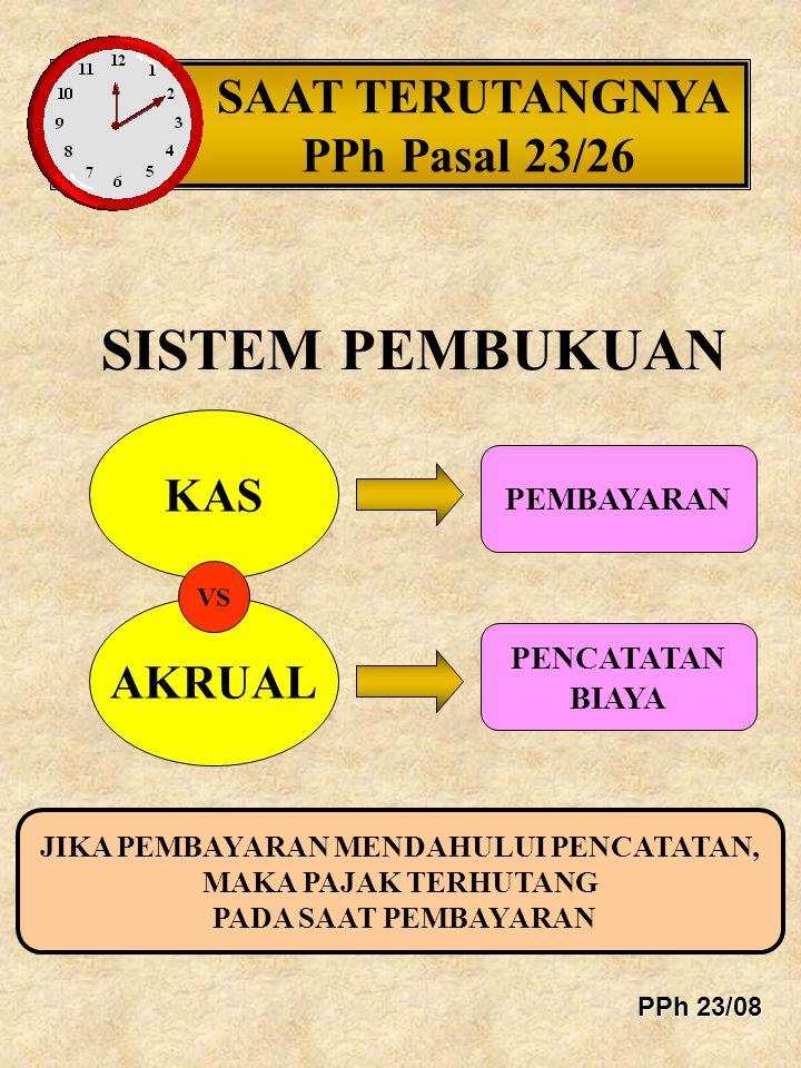 DASAR PENGENAAN PAJAK PPh PASAL 23/26 TIDAK TERMASUK PPN/PPn BM TIDAK TERMASUK PENGGANTIAN YANG BERSIFAT REIMBURSEMENT KURS MENTERI KEUANGAN RI MINGGUAN PADA SAAT TERUTANG ATAU PEMBAYARAN KHUSUS UNTUK OBJEK PASAL 26 AYAT 1 KECUALI DEVIDEN, PAJAK YANG DITANGGUNG OLEH PEMBERI HASIL HARUS MENAMBAH DASAR PENGENAAN PAJAK (GROSS UP) PPh 23/09