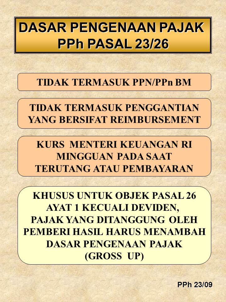 DASAR PENGENAAN PAJAK PPh PASAL 23/26 TIDAK TERMASUK PPN/PPn BM TIDAK TERMASUK PENGGANTIAN YANG BERSIFAT REIMBURSEMENT KURS MENTERI KEUANGAN RI MINGGU