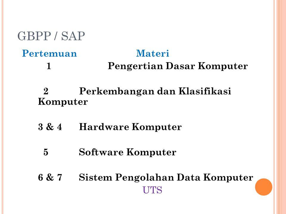 GBPP / SAP PertemuanMateri 1Pengertian Dasar Komputer 2Perkembangan dan Klasifikasi Komputer 3 & 4Hardware Komputer 5Software Komputer 6 & 7Sistem Pen