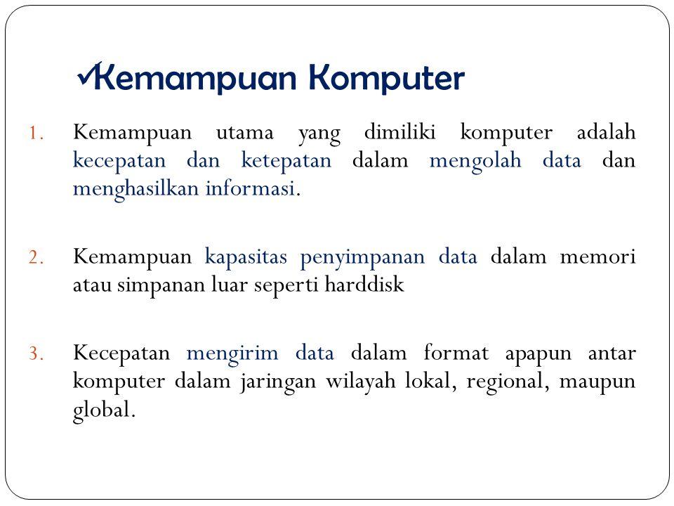 Kemampuan Komputer 1. Kemampuan utama yang dimiliki komputer adalah kecepatan dan ketepatan dalam mengolah data dan menghasilkan informasi. 2. Kemampu
