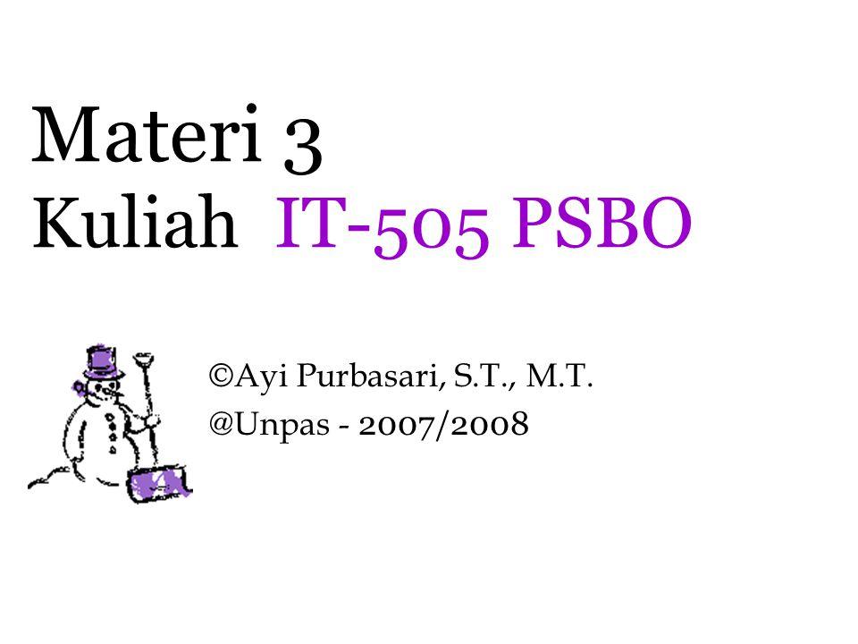 Materi 3 Kuliah IT-505 PSBO ©Ayi Purbasari, S.T., M.T. @Unpas - 2007/2008