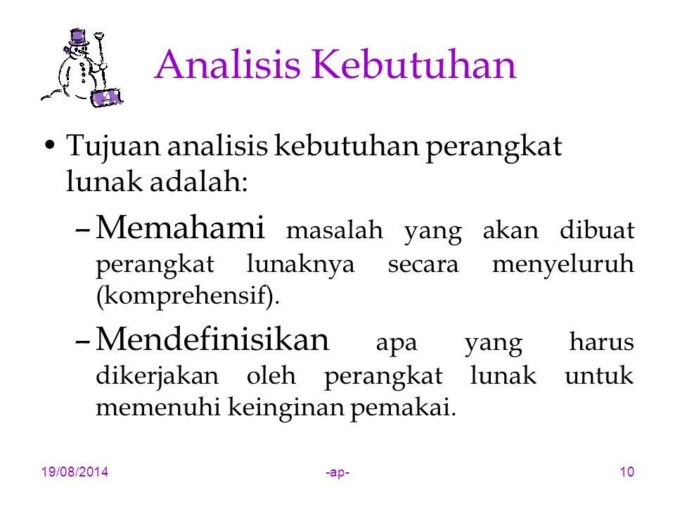 19/08/2014-ap-10 Analisis Kebutuhan Tujuan analisis kebutuhan perangkat lunak adalah: –Memahami masalah yang akan dibuat perangkat lunaknya secara menyeluruh (komprehensif).
