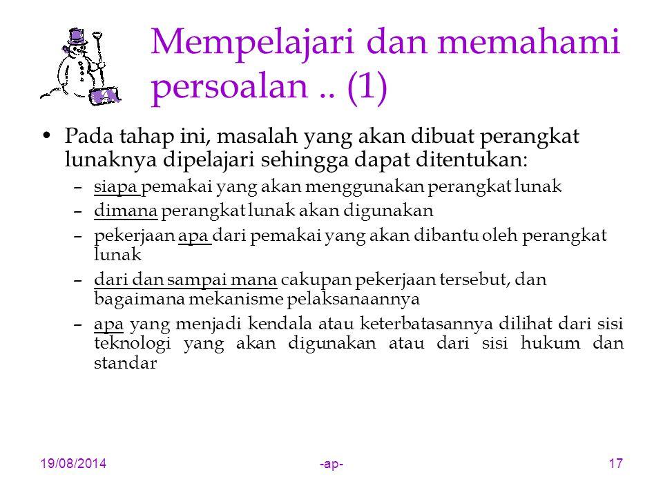 19/08/2014-ap-17 Mempelajari dan memahami persoalan..