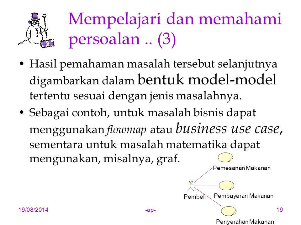 19/08/2014-ap-19 Mempelajari dan memahami persoalan.. (3) Hasil pemahaman masalah tersebut selanjutnya digambarkan dalam bentuk model-model tertentu s