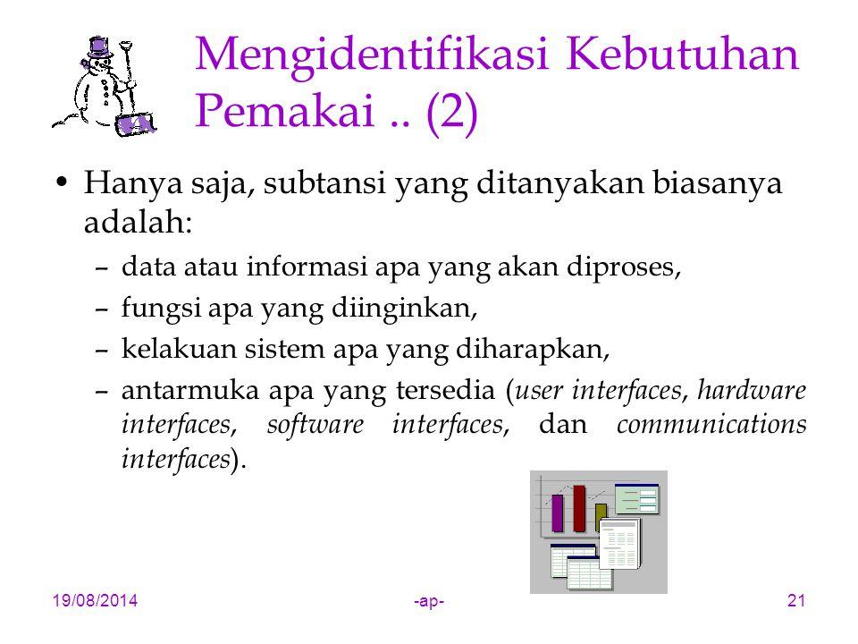 19/08/2014-ap-21 Mengidentifikasi Kebutuhan Pemakai.. (2) Hanya saja, subtansi yang ditanyakan biasanya adalah: –data atau informasi apa yang akan dip