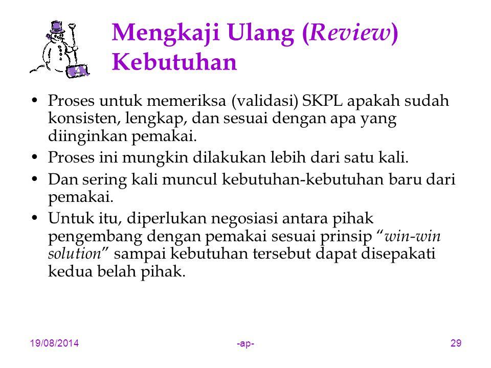 19/08/2014-ap-29 Mengkaji Ulang ( Review ) Kebutuhan Proses untuk memeriksa (validasi) SKPL apakah sudah konsisten, lengkap, dan sesuai dengan apa yan