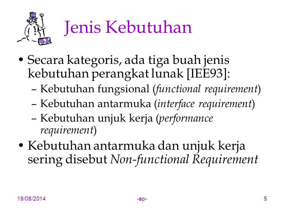 19/08/2014-ap-5 Jenis Kebutuhan Secara kategoris, ada tiga buah jenis kebutuhan perangkat lunak [IEE93]: –Kebutuhan fungsional ( functional requirement ) –Kebutuhan antarmuka ( interface requirement ) –Kebutuhan unjuk kerja ( performance requirement ) Kebutuhan antarmuka dan unjuk kerja sering disebut Non-functional Requirement