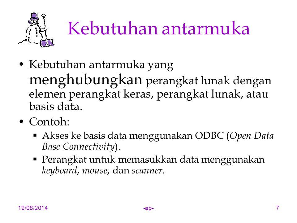 19/08/2014-ap-7 Kebutuhan antarmuka Kebutuhan antarmuka yang menghubungkan perangkat lunak dengan elemen perangkat keras, perangkat lunak, atau basis data.