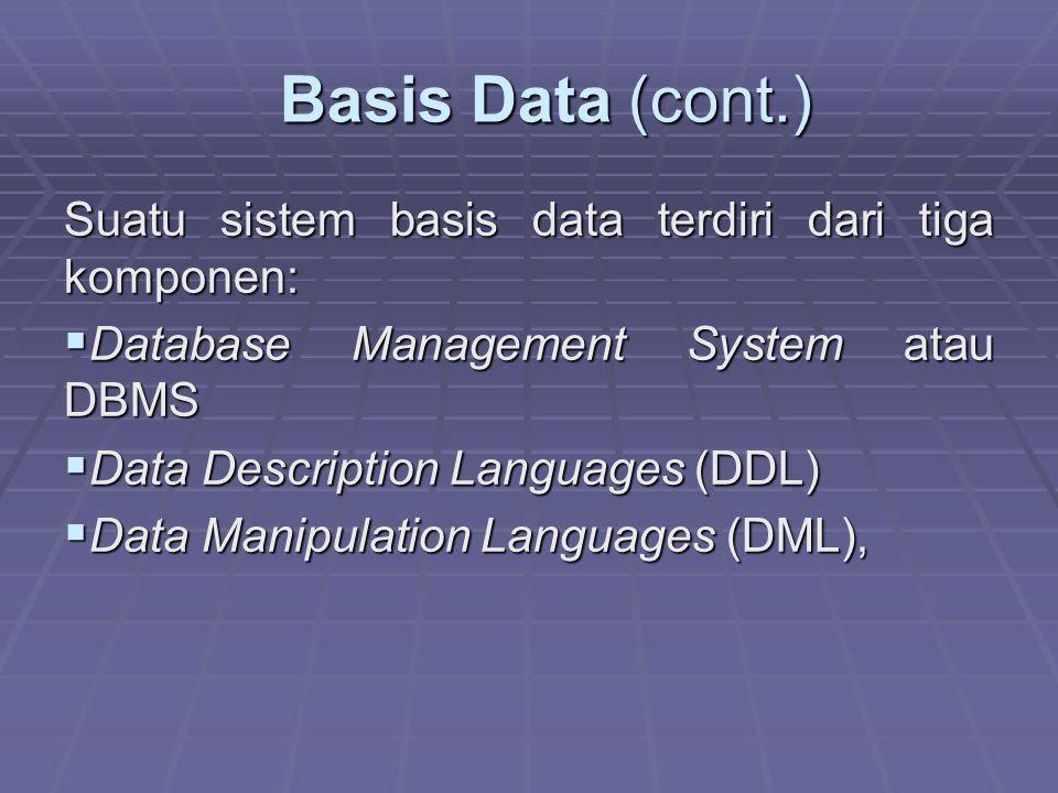 Basis Data (cont.) Basis Data (cont.) Suatu sistem basis data terdiri dari tiga komponen:  Database Management System atau DBMS  Data Description Languages (DDL)  Data Manipulation Languages (DML),