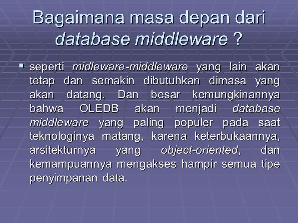 Bagaimana masa depan dari database middleware ?  seperti midleware-middleware yang lain akan tetap dan semakin dibutuhkan dimasa yang akan datang. Da