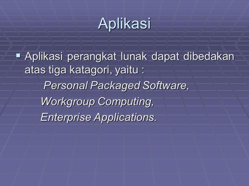 Aplikasi  Aplikasi perangkat lunak dapat dibedakan atas tiga katagori, yaitu : Personal Packaged Software, Personal Packaged Software, Workgroup Comp