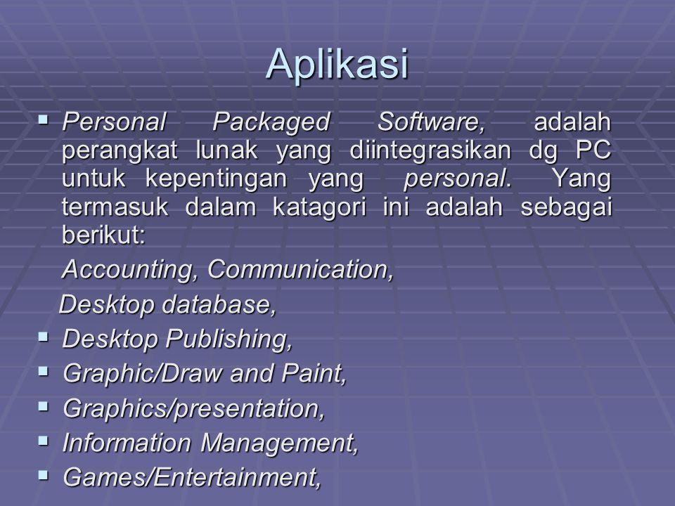 Aplikasi  Personal Packaged Software, adalah perangkat lunak yang diintegrasikan dg PC untuk kepentingan yang personal. Yang termasuk dalam katagori