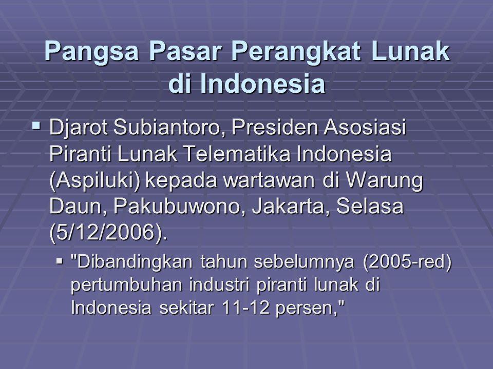 Pangsa Pasar Perangkat Lunak di Indonesia  Djarot Subiantoro, Presiden Asosiasi Piranti Lunak Telematika Indonesia (Aspiluki) kepada wartawan di Waru