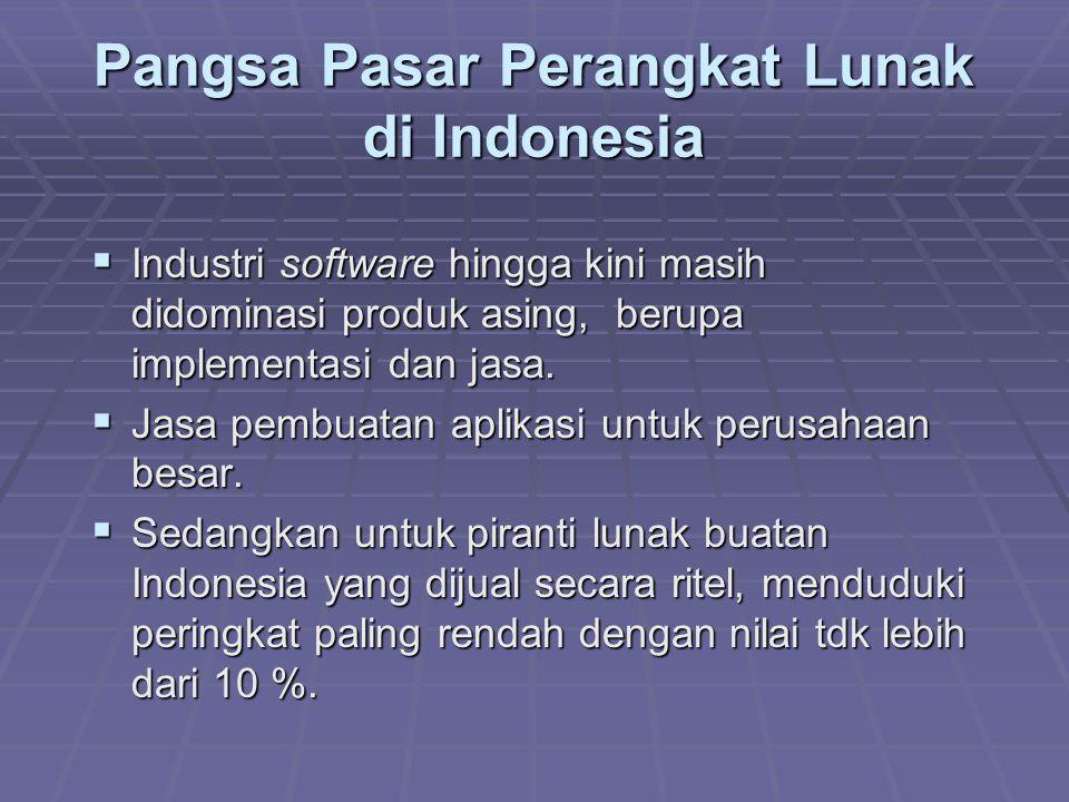 Pangsa Pasar Perangkat Lunak di Indonesia  Industri software hingga kini masih didominasi produk asing, berupa implementasi dan jasa.  Jasa pembuata