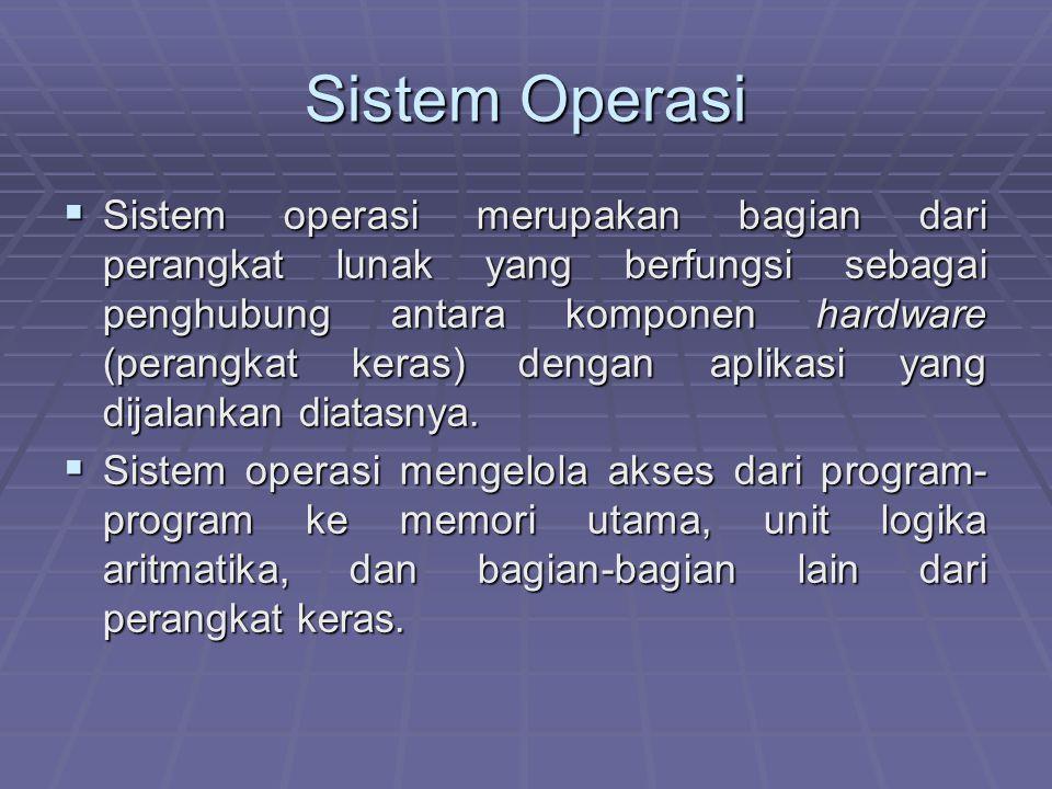 Sistem Operasi  Sistem operasi merupakan bagian dari perangkat lunak yang berfungsi sebagai penghubung antara komponen hardware (perangkat keras) den