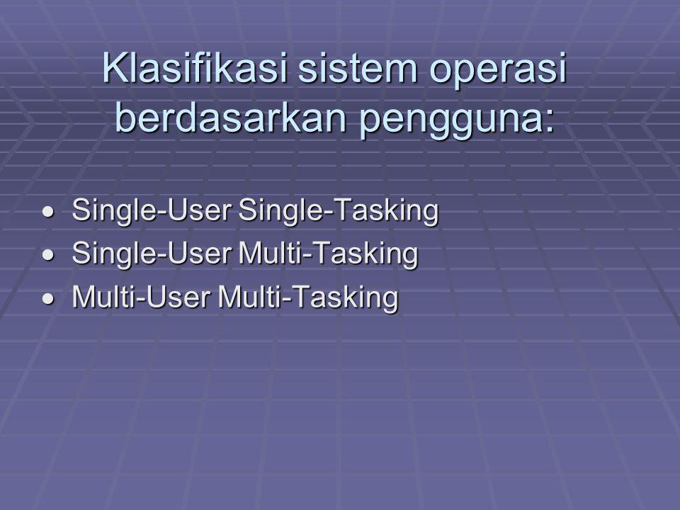 Klasifikasi sistem operasi berdasarkan pengguna:  Single-User Single-Tasking  Single-User Multi-Tasking  Multi-User Multi-Tasking  Multi-User Mult