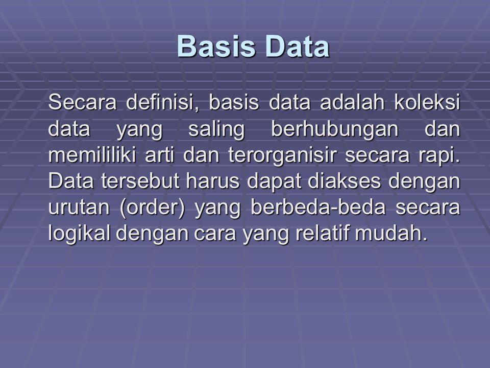 Basis Data Basis Data Secara definisi, basis data adalah koleksi data yang saling berhubungan dan memililiki arti dan terorganisir secara rapi. Data t