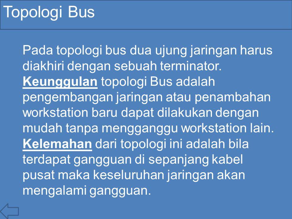 Topologi Bus Pada topologi bus dua ujung jaringan harus diakhiri dengan sebuah terminator. Keunggulan topologi Bus adalah pengembangan jaringan atau p