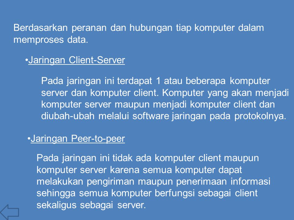 Berdasarkan peranan dan hubungan tiap komputer dalam memproses data. Jaringan Client-Server Pada jaringan ini terdapat 1 atau beberapa komputer server