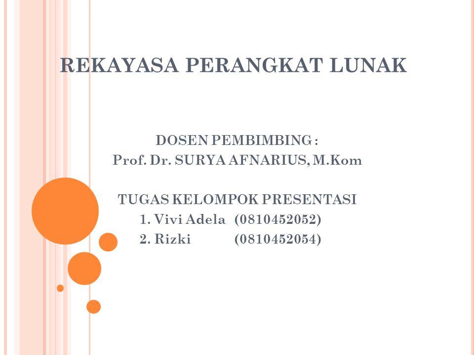 REKAYASA PERANGKAT LUNAK DOSEN PEMBIMBING : Prof. Dr. SURYA AFNARIUS, M.Kom TUGAS KELOMPOK PRESENTASI 1. Vivi Adela(0810452052) 2. Rizki (0810452054)