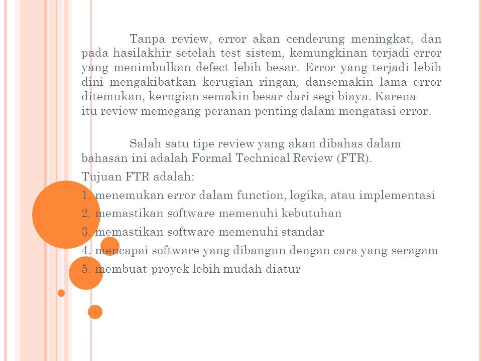 Tanpa review, error akan cenderung meningkat, dan pada hasilakhir setelah test sistem, kemungkinan terjadi error yang menimbulkan defect lebih besar.