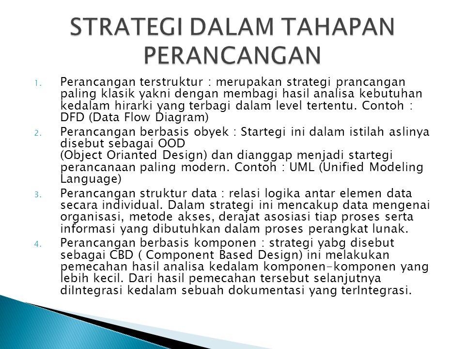 1. Perancangan terstruktur : merupakan strategi prancangan paling klasik yakni dengan membagi hasil analisa kebutuhan kedalam hirarki yang terbagi dal