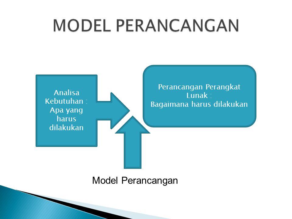 Analisa Kebutuhan : Apa yang harus dilakukan Perancangan Perangkat Lunak : Bagaimana harus dilakukan Model Perancangan