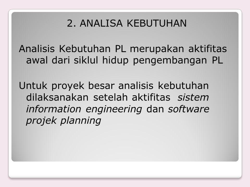 2. ANALISA KEBUTUHAN Analisis Kebutuhan PL merupakan aktifitas awal dari siklul hidup pengembangan PL Untuk proyek besar analisis kebutuhan dilaksanak